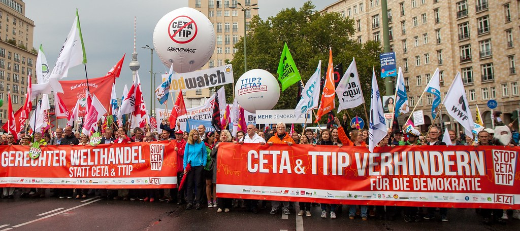 Image depicting an anti-CETA protest in Europe