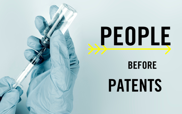 Gloved hands drawing vaccine from a vial, text reads People before profits.